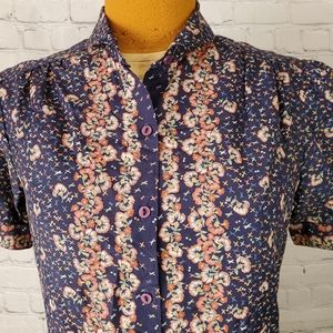Vintage Short Sleeve Floral Blouse by College Town